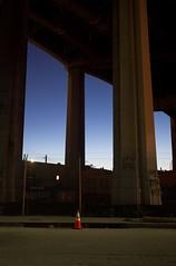 Piers and cone (ADMurr) Tags: leica bridge blue orange st night digital 35mm la demolition m summicron 6th