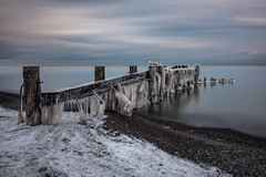 Fifty Point in Winter (Explore - Best Position #8 - May 2, 2016) (B.E.K.) Tags: longexposure winter lake snow ontario ice beach water landscape pier outdoor explore grimsby nd110 nikond600 nikon247028