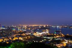 Blue Harbor (Ted Tsang) Tags: longexposure sea sky mountain skyline night landscape harbor cityscape nightscape taiwan olympus kaohsiung bluehour   magichour em1   shoushan  martyrsshrine voigtlandernokton25mmf095