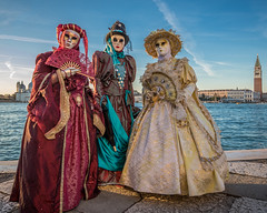 Three Ladies at Sunset 2 (Kayla Stevenson) Tags: venice costume model piazza sangiorgiomaggiore moniquelippert
