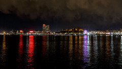 """The Big Wheel"" (Karol A Olson) Tags: art clouds lights baltimore spotlights apr16 citylightsbaltimore 96clouds 116picturesin2016"