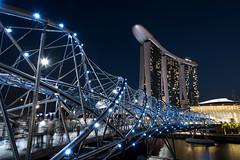 Helix Bridge (Mike_Y_Wong) Tags: street city bridge blue light architecture night marina lights bay singapore long exposure cityscape helix sands