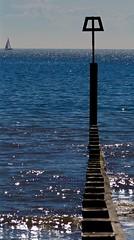 Horizon (Hodd1350) Tags: sea yacht horizon olympus panasonic dorset groyne bournemouth shimmer bluesea boscombe penf warningpost lumixlens