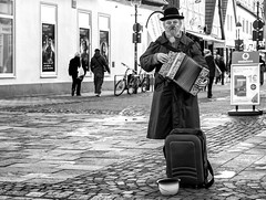 Smile for the camera. (Mister G.C.) Tags: street people urban blackandwhite bw musician man male monochrome hat germany deutschland eyecontact europe candid sony clown streetphotography sigma rednose bowlerhat streetperformer accordian unposed schwarzweiss niedersachsen lowersaxony 30mm primelens mirrorless strassenfotografie a6000 unhappysad 30mmf28dn sonyalpha6000 sonya6000 mistergc
