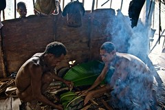 Korowai (on explore) (silvia.alessi) Tags: trip travel family wild people cooking forest indonesia lunch asia smoke photojournalism tribal treehouse adventure papua hospitality wildpig bananaleaves westpapua irianjaya korowai