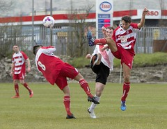 Jamie McDonald takes evasive action from the high boots (Stevie Doogan) Tags: park west scotland thistle scottish first juniors division league holm largs clydebank superleague bankies mcbookiecom