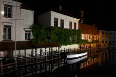 Docked (Skyline Studio) Tags: travel houses house black water night reflections dark boats evening living town dock nikon europe european village belgium belgie brugge be bruges docked d40 nightitme skylinestudio elwinw