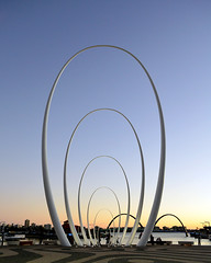 spanda (pedro smithson) Tags: blue sky sculpture orange art metal night easter gold golden nikon waves nightscape contemporary ripple australia drop quay perth wa oceania 2016 oceanica spanda christiandevietri d5100 pedrosmithson