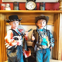 Howdy... #twinsofinstagram #twinstergram #twins #brothers #dressup... (nathanrobinson2) Tags: cowboys fun twins cosplay brothers hats dressup posers swords clinteastwood stetson instagram uploaded:by=flickstagram instagram:photo=961632264819834904184137303 twinsofinstagram twinstergram