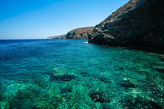 Sifnos blue water (frfourrier) Tags: ocean blue sea summer cliff colour water rock canon colours turquoise wide wideangle greece sifnos cyclades