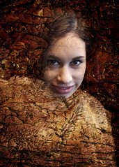 Of the Wood (Boganeer) Tags: wood woman tree texture canon fur wrap hide bark cloak cracks canoneos blend fissures canont3i canonrebelt3i