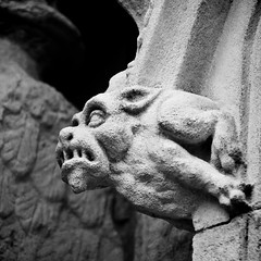 Gargoyle - Exeter Cathedral (Carolbreeze99) Tags: bw church stone architecture cathedral carving gargoyle devon fantasy exeter creature mythical