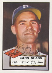 "1952 Topps Reprint Set (1983) - Glenn ""Rocky"" Nelson #390 (First Base) (b. 18 Nov 1924 - d. 31 Oct 2006 at age 81) - Autographed Baseball Card (Brooklyn Dodgers) (WhiteRockPier) Tags: auto sign set vintage cards baseball graf graph autograph 1983 topps signed 1952 mlb reprint brooklyndodgers glennnelson rockynelson"