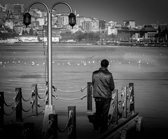 Waiting for Boat (vuralyavas) Tags: light blackandwhite bw white black monochrome portraits turkey photography pier boat mare seat istanbul bnw eyup goldenhorn