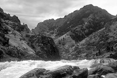 Snake River - Hells Canyon Idaho - Oregon Border 1 BW (Don Thoreby) Tags: closeup oregon whitewater rapids idaho snakeriver pacificnorthwest gorge remote wilderness hellscanyon snakerivercanyon riverrafting riverscene noroads oregonidahoborder