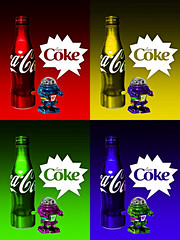02468795-72-Coca Cola Forever Young-12 (Jim There's things half in shadow and in light) Tags: color art advertising toy robot bright coke halftone popart cocacola cokebottles