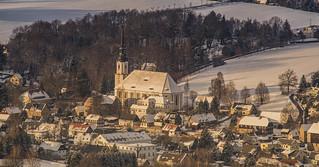 Dorfkirche Cunewalde vom Bieleboh aus gesehen