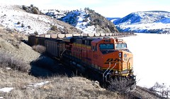 East bound empties at Toston Reservoir. Montana (montanatom1950) Tags: train montana empty grain trains bnsf lombard railroads lombardmontana