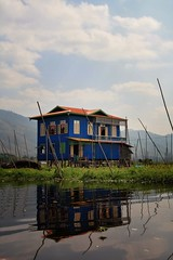 Maing Thauk village house, Inle Lake-Myanmar (MeriMena) Tags: wood travel blue house lake nature water colors beautiful canon reflections landscape village myanmar inle maingthauk canon450d merimena