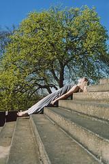 (EYLUL ASLAN) Tags: park blue sky tree berlin green film girl stairs analog kreuzberg