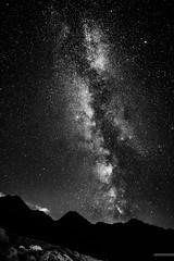 Milky Way in B&W (Stefan Liebermann) Tags: travel summer sky blackandwhite bw mountain snow abstract mountains alps cold night stars star switzerland alpine galaxy sw nightsky alpen sterne milkyway langzeitbelichtung milchstrase