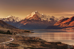 Aoraki/Mt Cook at sunset (Big_Joker) Tags: road park new sunset newzealand sun mountain lake snow canon landscape photography eos is nationalpark mark iii cook glacier mount trail zealand national ii valley summit mtcook 5d usm tasman hooker lakepukaki mountcook aoraki pukaki bgs ef70200mm f28l 500px canoneos5dmarkiii ef70200mmf28lisiiusm bgsphotography bgspix