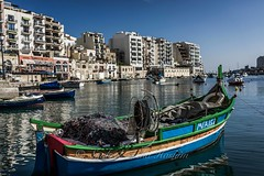 Colorful Malta... (Syahrel Azha Hashim) Tags: ocean city travel light vacation holiday detail reflection port 35mm buildings prime boat colorful dof getaway sony naturallight bluesky malta handheld shallow simple mediterraneansea clearsky seaview stjulian a7ii sonya7 syahrel ilce7m2