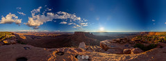 Grand View Point Sunset Panorama (au_ears) Tags: sun utah sunset junctionbutte clouds sky 2015 panorama canyonlands grandviewpoint islandinthesky hdr