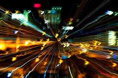 Golpe de zoom (alejoisazae) Tags: noche nikon colombia zoom d edificio movimiento amarillo desenfoque silueta abstracto 90 brillante medelln golpe antioquia lneas inteligente d90 epm seleccionar