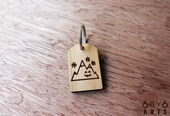 Happy Mountain (thea superstarr) Tags: wood mountain happy key chain laser washingtonstate madeinusa reclaimed lasercut laserengraved 6by6arts