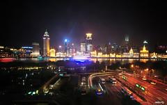 Night Moves (Andy Brandl (PhotonMix.com)) Tags: china urban buses night lights nikon cityscape shanghai lighttrails pudong puxi huangpuriver illuminatedbuildings photonmix elevatedpov