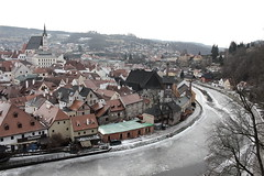 Chilly Cesky Krumlov (music_man800) Tags: trip roof winter urban holiday snow cold castle ice church canon river landscape frozen scenery day republic view czech prague hill january scene bleak vltava cesky krumlov edit cholly gimp2 700d