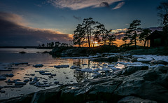 Sunset in Kallvik (Mika Laitinen) Tags: ocean winter sea sky sun reflection tree ice nature water rock clouds suomi finland landscape helsinki cabin shore vuosaari uusimaa kallvik ef24105mmf4l canon7dmarkii