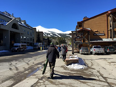 Heading For The Slopes (Marc Sayce) Tags: blue snowboarding for town colorado skies skiing village bluebird breckenridge heading snowboarder slopes the