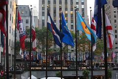 Flag Plaza (lefeber) Tags: plaza city nyc newyorkcity trees urban newyork architecture downtown rockefellercenter flags artdeco