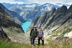Gelmersee (welenna) Tags: blue schnee light summer mountain lake snow mountains alps landscape switzerland see licht leute view swiss blumen berge alpen blume schatten berneroberland gelmersee grimselwelt