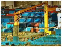 Terminal (kurtwolf303) Tags: hafen harbor barcelona spanien spain container bunt farbig colors terminal crane kran nikoncoolpixs8200 hdr unlimitedphotos compactcamera espaa arbeiter workmen 250v10f flickrelite 500v20f 800views 900views 1500v60f topf25 topf50 topf75 topf100 topf150
