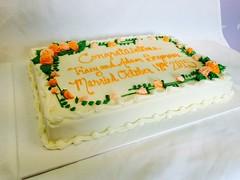 Flower Congratulations Cake (tasteoflovebakery) Tags: red orange flower yellow cake congratulations congrats