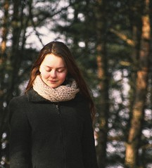 ... (grow-till-tall) Tags: trees film girl smile sunshine forest scarf march spring beige woods warm bokeh grain redhead pines eyesclosed tenderness