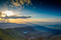 From Pen y Fan (Eric Goncalves) Tags: uk blue light sky sun mountain lake cold beautiful wales clouds landscape warm view horizon brecon penyfan