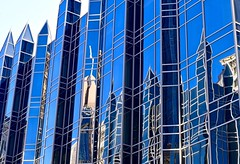 Glass castle intra-reflections (R.A. Killmer) Tags: city blue castle reflections pittsburgh cityscape artistic hike artsy ppg