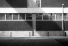 (Delay Tactics) Tags: street windows shadow bw white black lamp wall sheffield diagonal rule thirds bollards pinhile
