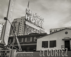 El Cortez (magnetic_red) Tags: urban blackandwhite gambling building sign vintage prime hotel lasvegas el casino rib cocktails cortez tmax100 crowngraphic caffenol