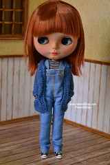 Honey (ronmielshop) Tags: blue doll handmade coat knit piccadilly clothes jersey blythe cloth cardigan licca diorama emeral liccabody piccadillydollyencore piccae ronmiel ronmielshop