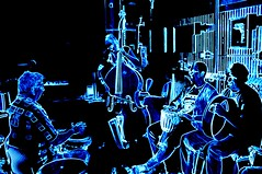 Drumming Group with Standing Bass    4-DSCF4107 (LarryJ47) Tags: music monochromatic drummer drumming fujifilmx100 fujix100