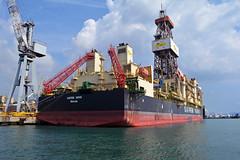 Saipem 1000 stern quarter (PhillMono) Tags: travel italy boat dock nikon ship harbour crane offshore perspective vessel tourist genoa oil quarter dslr stern drill saipem drillship d7100