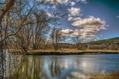 The-Housatonic-River-in-Ashley-Falls (desouto) Tags: sky snow nature water clouds landscape stream stones lakes ponds hdr