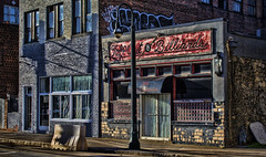 Tapp Out Billiards (Mark Chandler Photography) Tags: street city atlanta windows urban color colour building cars pool canon ga buildings georgia photography graffiti photo day cityscape atl stock billiards streetcar auburnavenue auburnave markchandler 7dmarkii