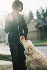 """A Girl And Her Dog"" - Nikon N75, Fuji Pro 400H (peakbagger_trin) Tags: film dogs goldenretriever nikon 35mmfilm nikonn75 fujicolorpro400h filmisnotdead buyfilmnotmegapixels staybrokebuyfilm littledoglaughedstories"