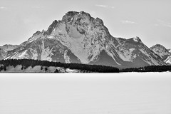 Taking in Mount Moran from Teton Park Rd (Black & White) (thor_mark ) Tags: trees day2 lake mountains nature blackwhite unitedstates alta wyoming mountmoran frozenover snowylandscape lookingwest tetonrange grandtetonnationalpark jacksonlake project365 colorefexpro mountainsindistance blueskieswithclouds tetonparkrd silverefexpro2 nikond800e mountainsoffindistance capturenx2edited hillsideoftrees triptoidahoandgrandtetons greateryellowstonerockies tetonrangeyellowstonearea ondamofjacksonlake